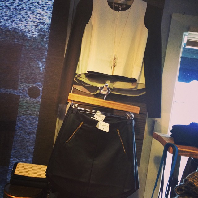 Leather paired with leather! Top $54 Skirt $55