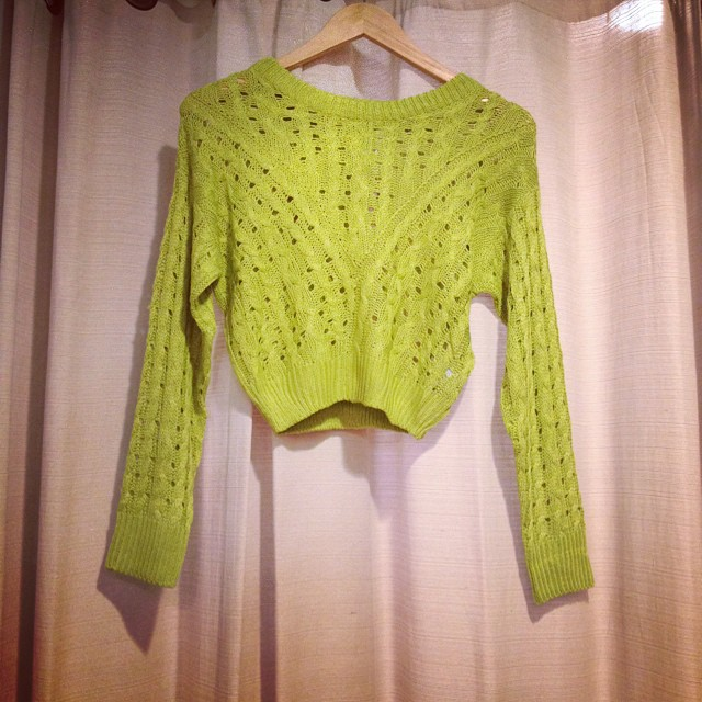 Lime cropped sweater $38!