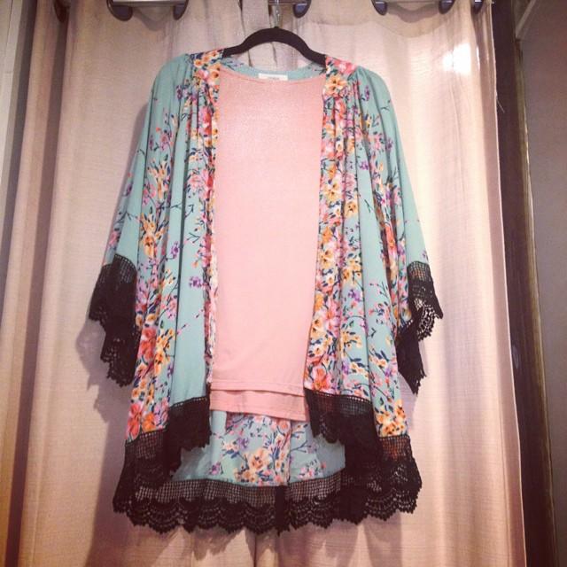 New floral print kimono paired with Piko top! Kimono $43 & Piko $25!