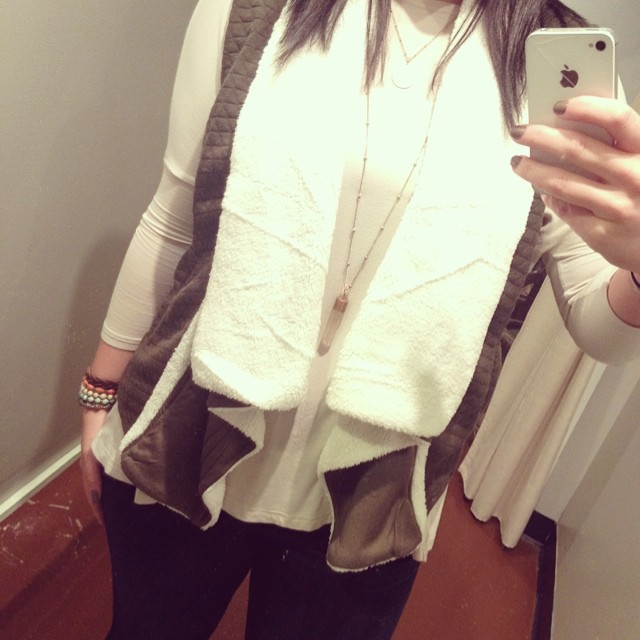 New olive and cream fur vest $58