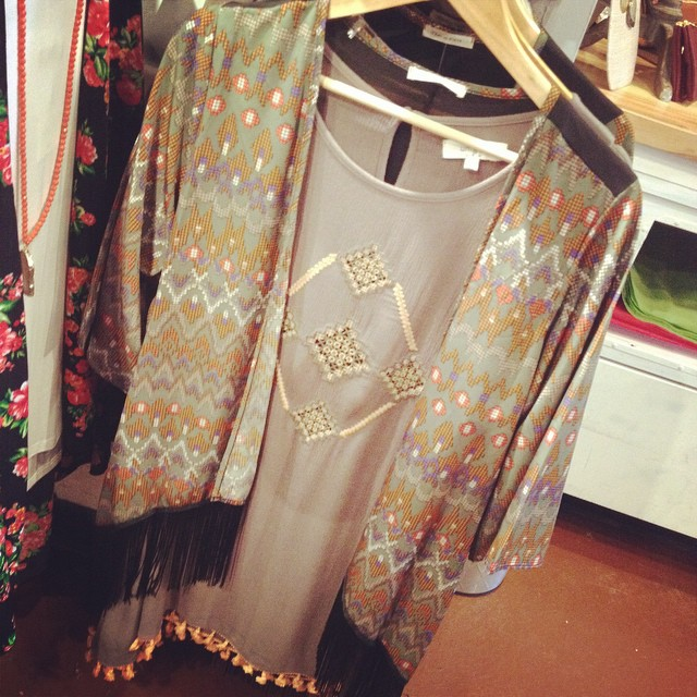 New patterned cardigan with tassel bottom! $36