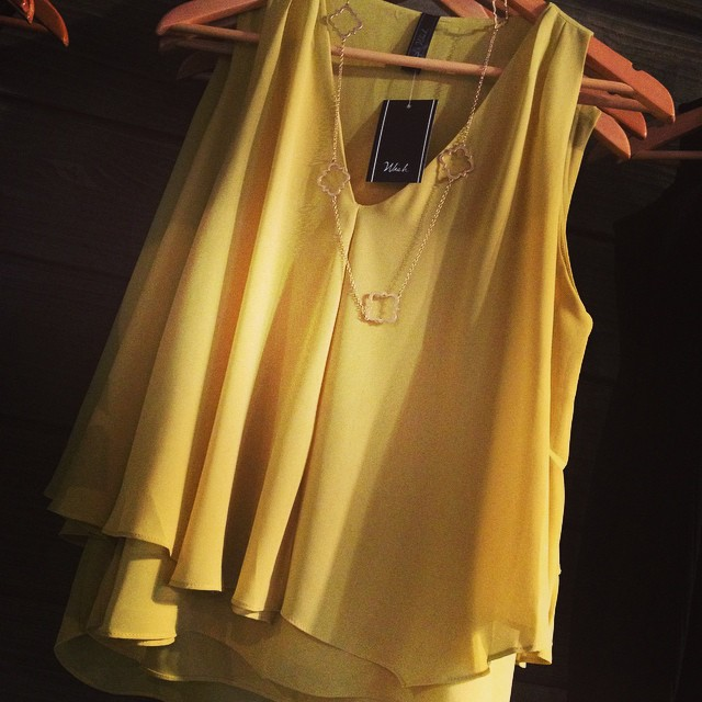 New sleeveless mustard blouse. The perfect top for under any jacket/blazer! $55!