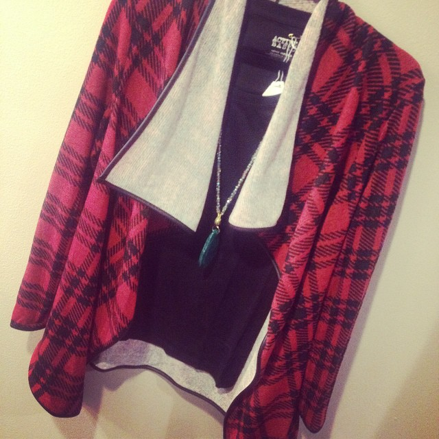 New plaid open cardigan $36