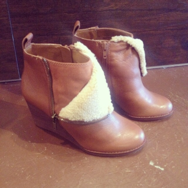 New fur lined ankle wedge booties. $139!