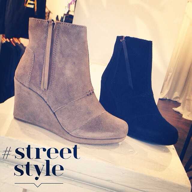 TOMS High Desert Wedges available in black and taupe. Stop by today to get your size! #rruscovidalia #toms #tomsshoes