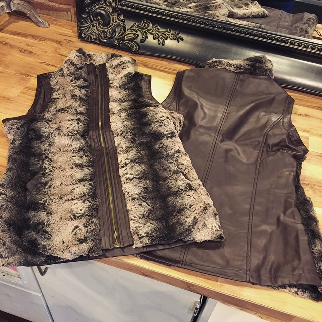 New brown faux fur vest with leather back $68!