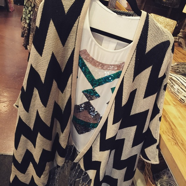 New chevron fringe cardigan $65, paired with our new long sleeve white sequin top $28!