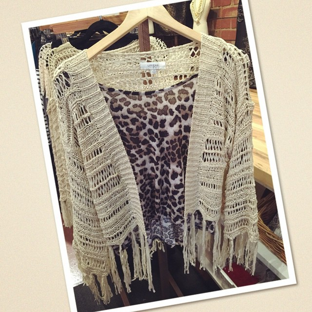 New fringe cardigan $36, paired with a leopard blouse $25!