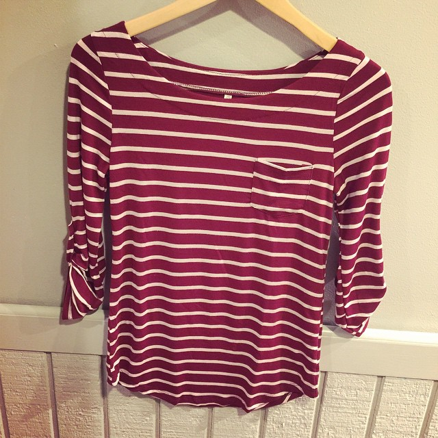 New burgundy & white stripe top $18!