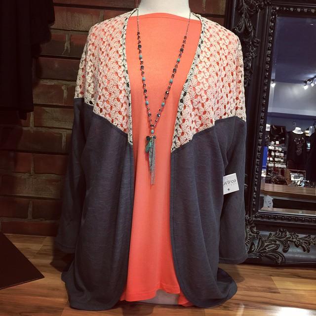New charcoal knit kimono sweater $32!
