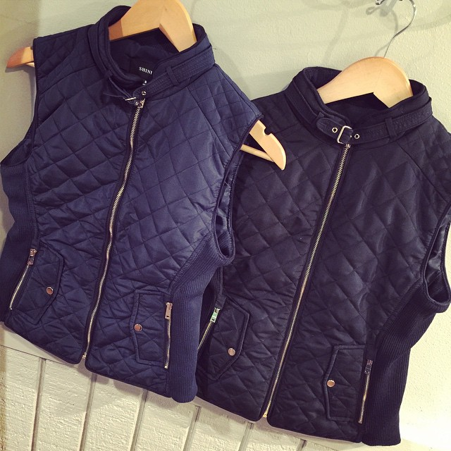 Navy & Black quilted vest now in stock! $48!