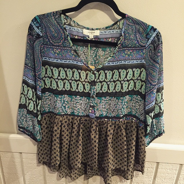 New mixed print blouse $28!