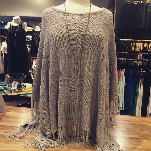 New grey solid fringe poncho $48!
