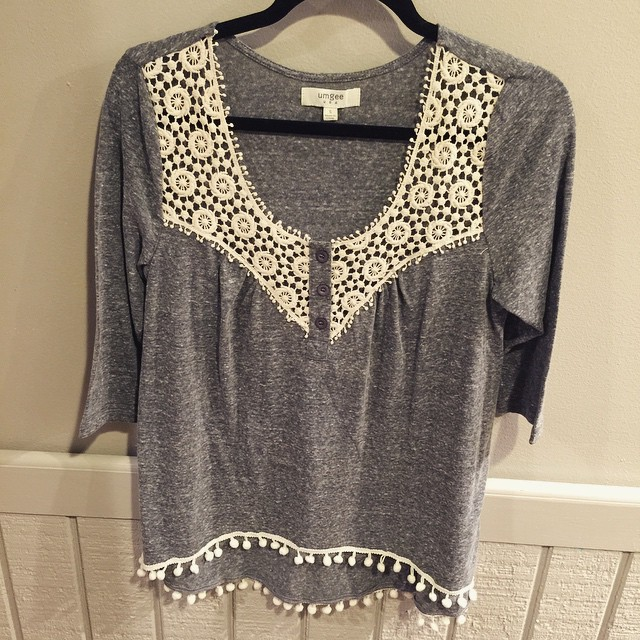 Charcoal lace top $30!