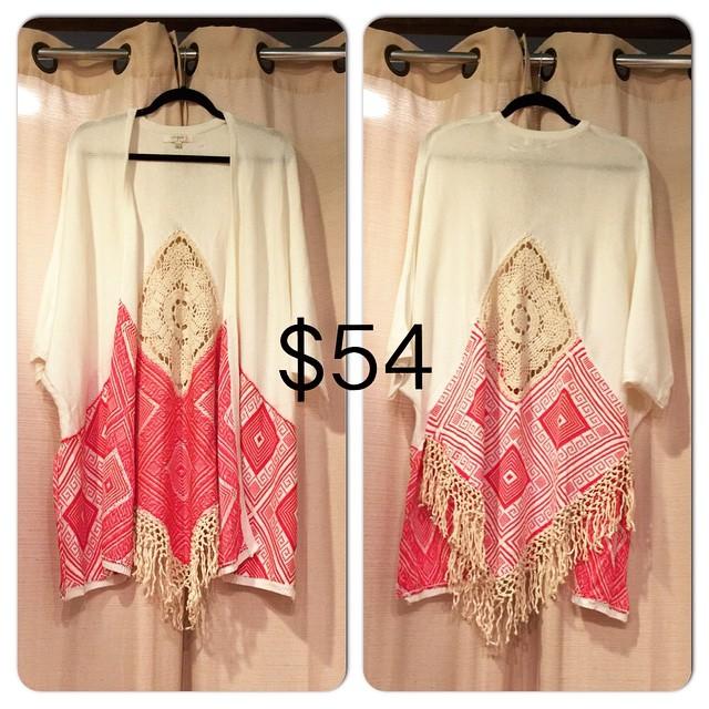 New Cream Fringe Plus Size Kimono, $54!