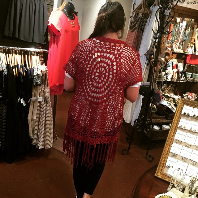 New red crochet cardigan, $40! #rruscovidalia