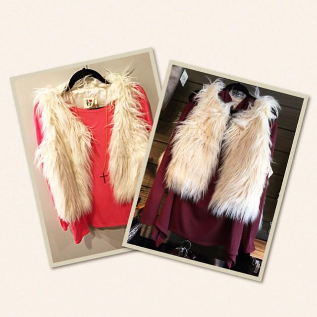 New Ivory Faux Fur Vest $58!