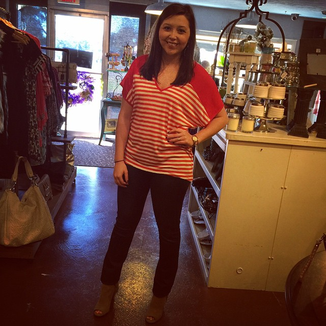 New red & white striped blouse perfect for this Valentine's Day! $28 #rruscovidalia