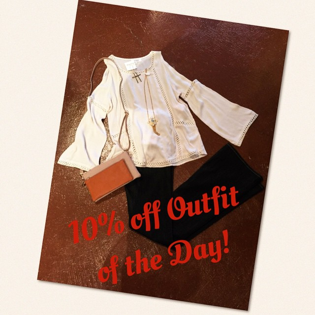 Stop by today to receive 10% off today's, outfit of the day when you purchase entire outfit! We are open until 6pm!