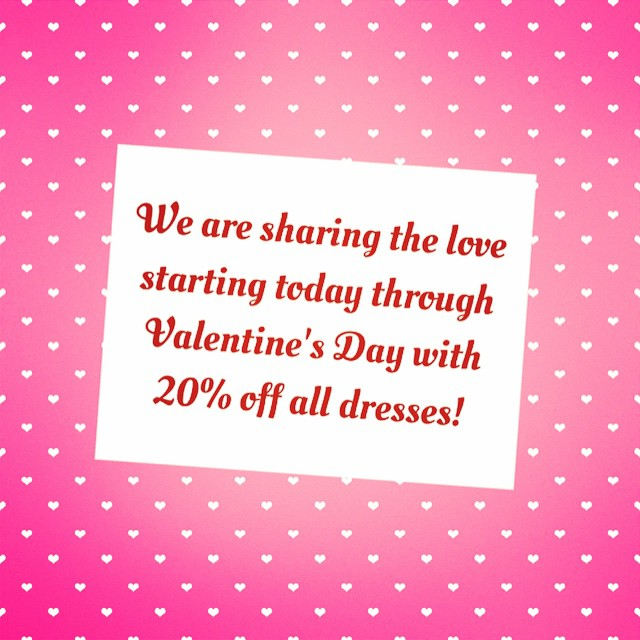 Hurry in today through Saturday to receive 20% off all dresses!