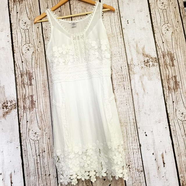 Love lace? This white lace trim fitted dress is perfect! $66