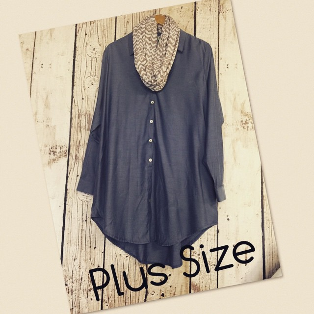 New denim plus size tunic now in store $38!