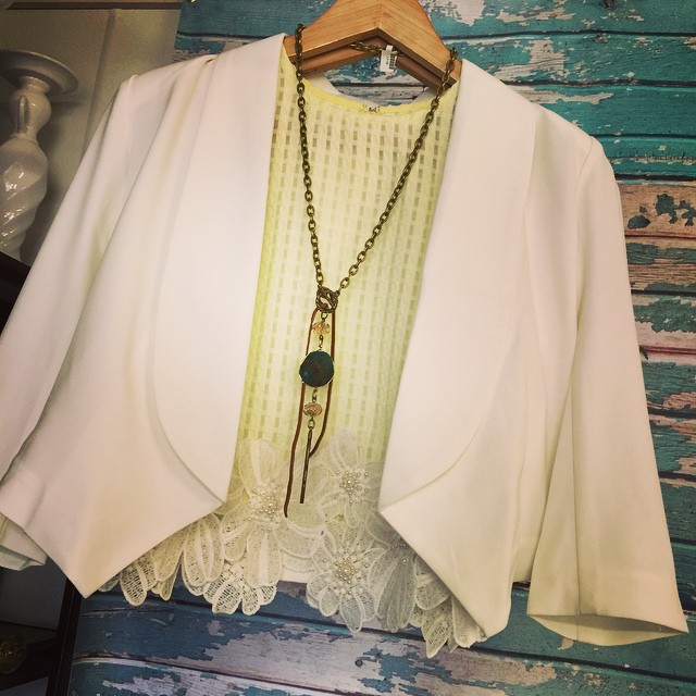 Obsessed with this pale yellow blouse paired with our new white blazer! Blouse $42, Blazer $44