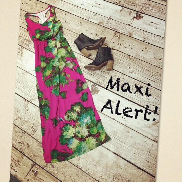 New Floral Maxi dress just in paired with our new open toes TOMS Wedge Heel Booties! Dress $138 Shoes $98