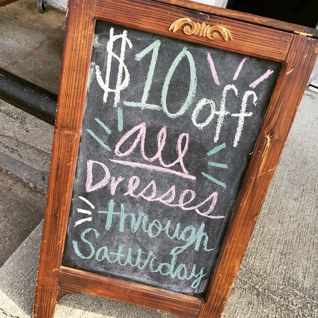 Don't have an Easter dress yet? Don't worry, we've got you covered! Stop by through Saturday and receive $10 off our wide selection of dresses!