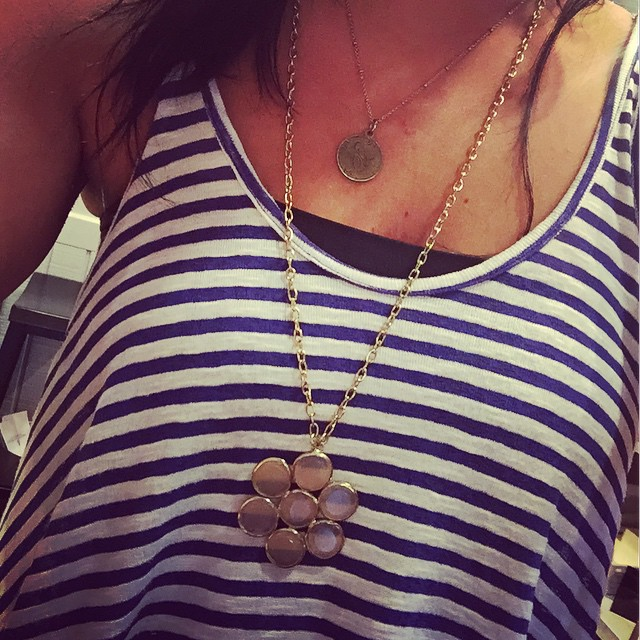Loving this new Sadie Flower Necklace layered with our Beau Coup Initial Necklaces!