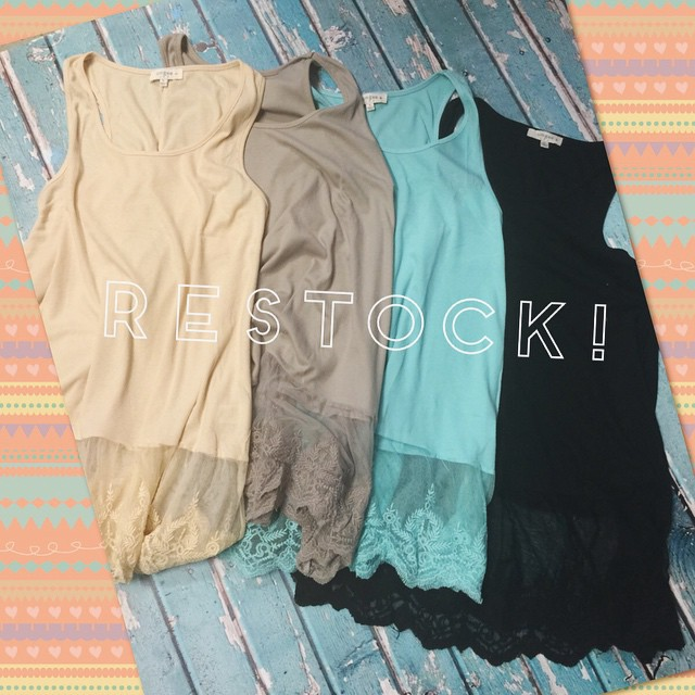Restock on lace bottom plus size tanks!