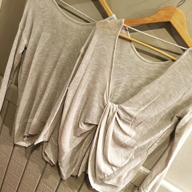 New grey twisted drape back top, so comfortable! $52.00