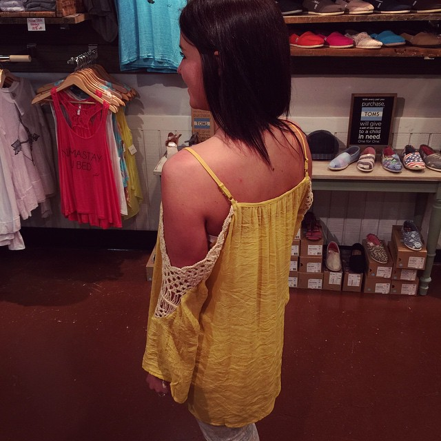 New cold shoulder mustard blouse $33.00