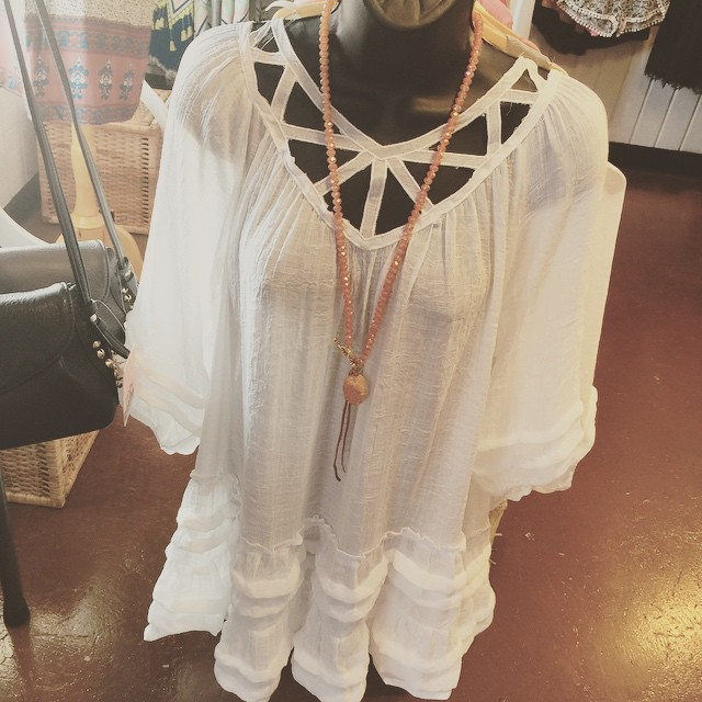 Off white ruffled tunic dress $36!