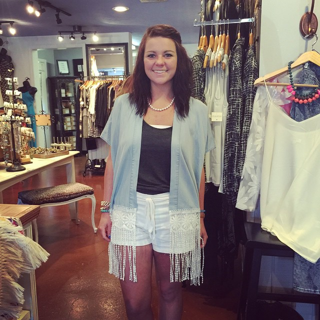 New denim fringe cardigan $43.00