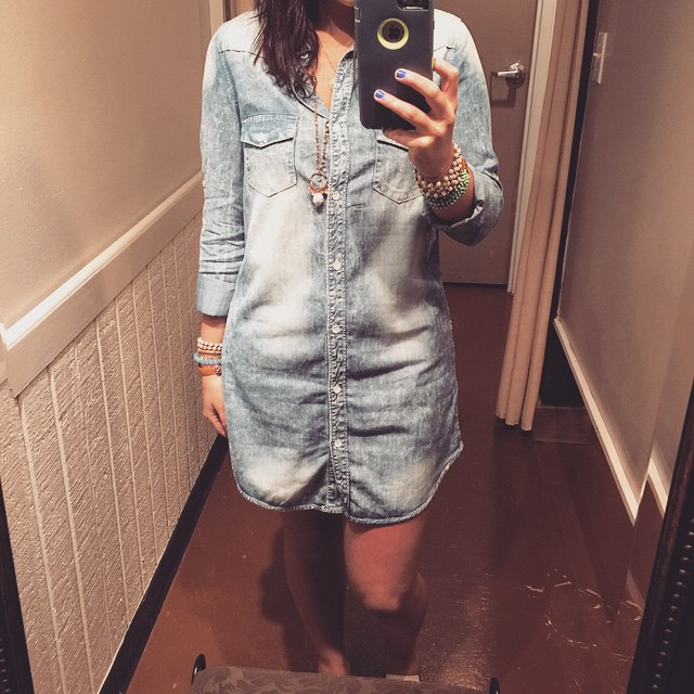 Rocking this acid wash tunic dress today  $42