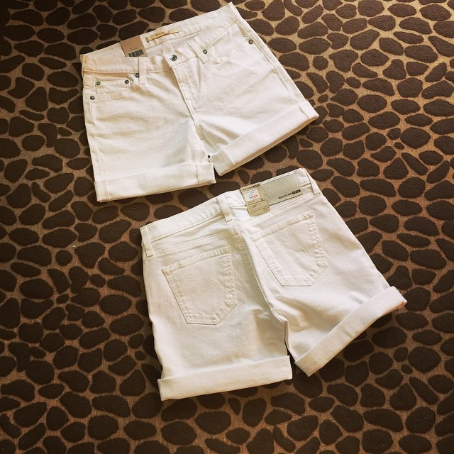 Now in store! Mid Rise Big Star White Denim Shorts, $74.00! Sizes 26-31