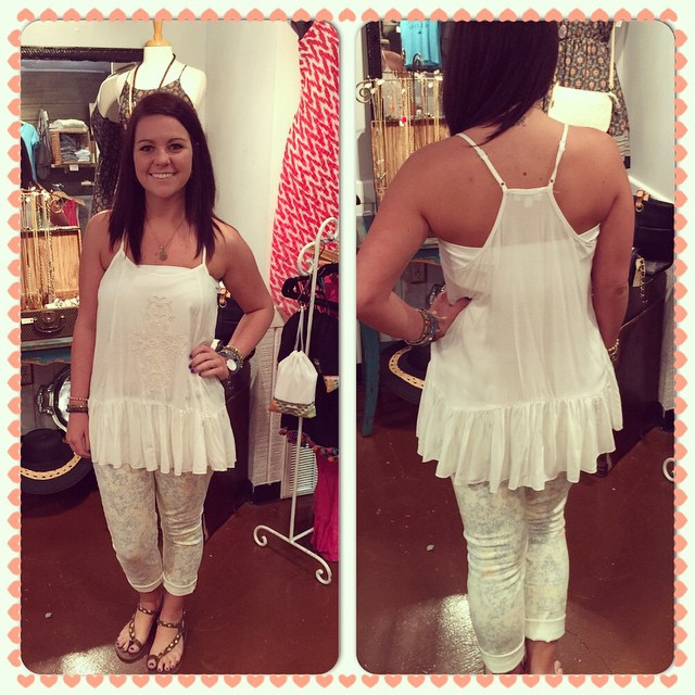Check out this have to have ivory ruffle top now available! $26.00
