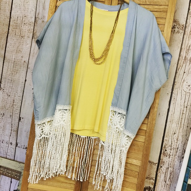 Can't get enough of this denim fringe cardigan! Throw over any color piko for a comfortable look for any occasion! $43