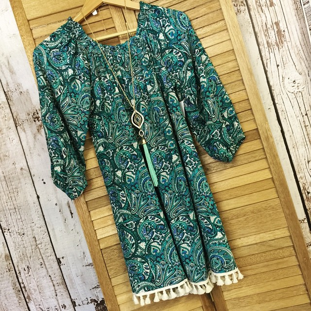 Green mix paisley print dress $38