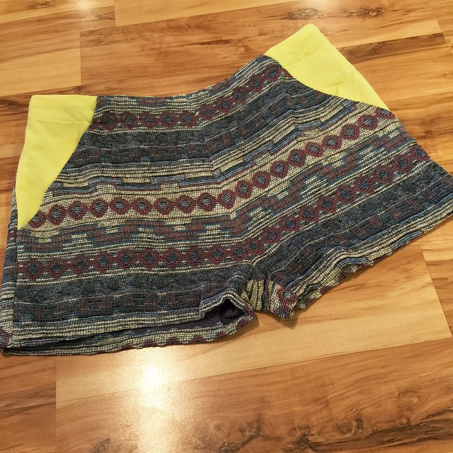 New Blue Mix Electric Tweed Tribal Shorts $34
