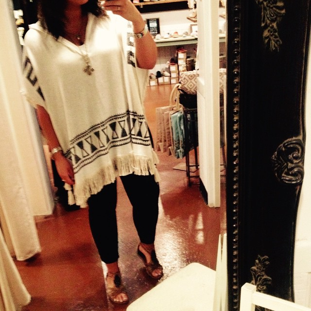 Loving this ivory Aztec poncho &58