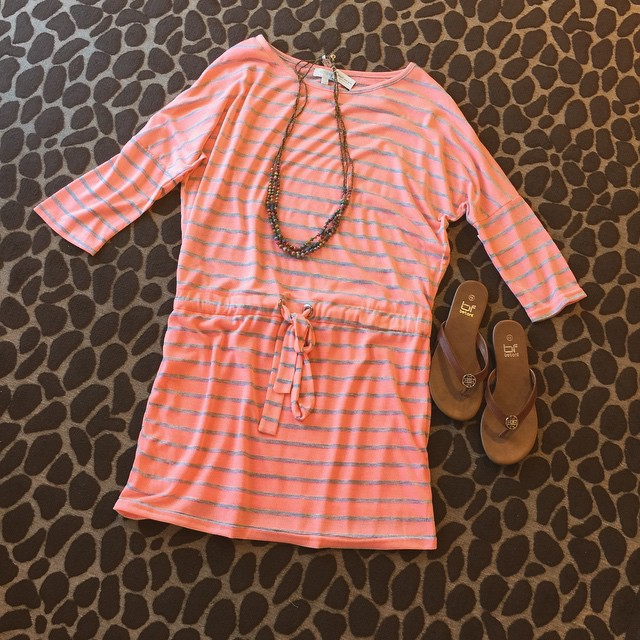 In love with this oh so comfy peach neon striped day dress paired with our new tan sandals and a colorful 31 Bits necklace! Dress $32 Sandals $14 Necklace $48