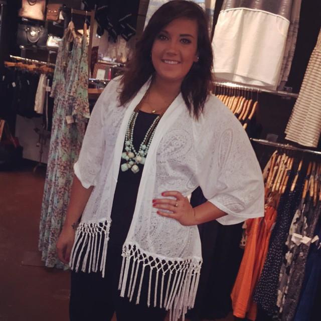 New White Fringe Kimono $45.00!